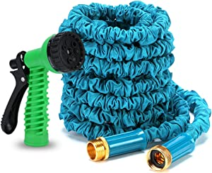 Ubrand BOERSITE Flexible Expandable Retractable 58 Garden Hose, Kink Free Easy Storage Collapsible 3750D High Strength Water Hose with 34 Multifunctional Spray Nozzle, 50ft (blue)