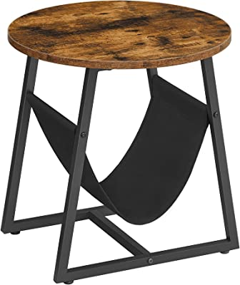 VASAGLE Round End Table with Pocket, Side Table, Coffee Sofa Table, for Living Room Bedroom, Steel Frame, Industrial Style, Rustic Brown and Black ULET281B01