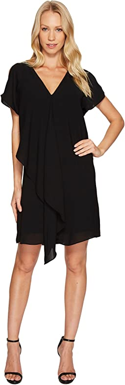 Cold Shoulder Asymmetrical Draped Dress