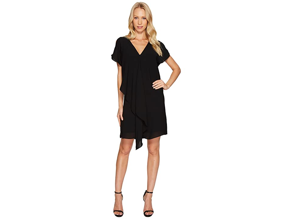 Adrianna Papell Cold Shoulder Asymmetrical Draped Dress (Black) Women