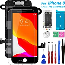 """for iPhone 8 Screen Replacement [Black], Mobkitfp 4.7"""" Full Assembly LCD Display Digitizer with Front Camera+Ear Speaker+Sensors+Waterproof Seal+Repair Tools+Screen Protector for A1863, A1905,A1906"""