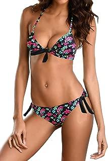 Women's Two Piece Bikini Sets Padded Push Up Swimsuits Triangle Halter Swimwear Printed Bathing Suits