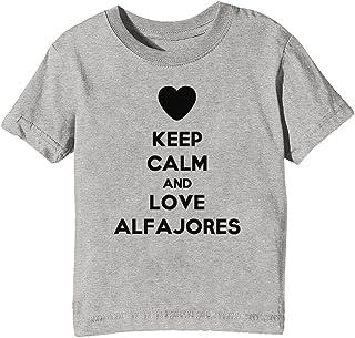 Keep Calm and Love Alfajores Niños Unisexo Niño Niña Camiseta Cuello Redondo Gris Manga Corta Todos
