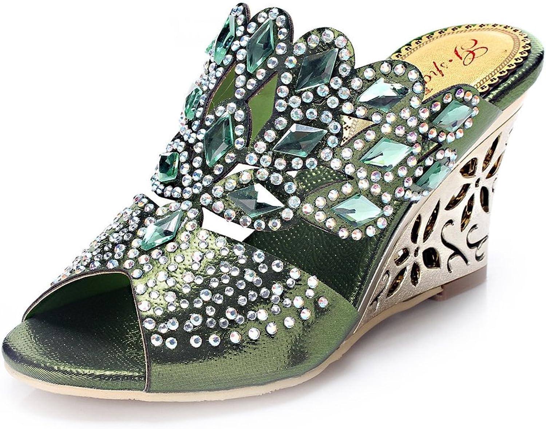 Doris Fashion gs-T018p Women's Glitter Rhinestones Wedge Heel Evening Wedding Dress Sandals