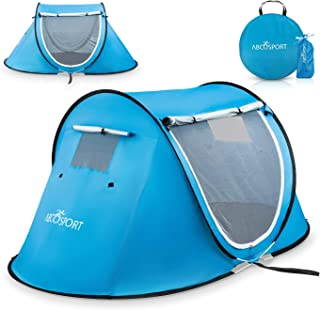 Best Pop Up Tent - Automatic Instant Tent - Portable Cabana Beach Tent - Fits 2 People - Windows and Doors on Both Sides - Water Resistant, UV Protection Sun Shelter - Carry Bag Included Review
