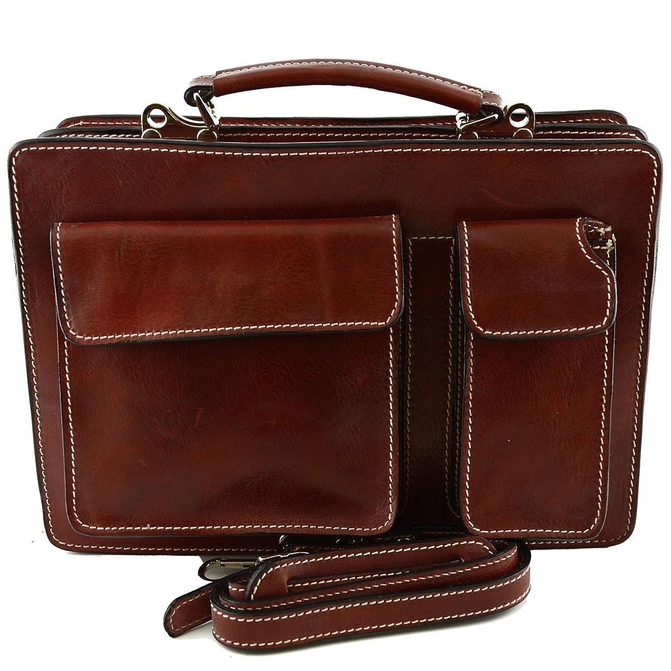 やむを得ない教え略すMade In Italy Genuine Leather Business Bag Mod. Small Color Red - Business Bag