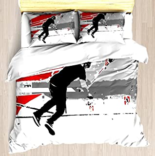 SINOVAL Spinning The Deck - Tail-Whip Scooter Stunt Twin/Twin XL Extra Long Brushed Microfiber 1 Duvet Cover 2 Pillow Shams Zipper Closure