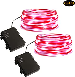 MYHH-LITES Rope Lights Battery Operated, 16.5ft Candy Cane Striped Tube with 67 Cool White LEDs Christmas Lights, Waterproof with Timer Perfect for Indoor Outdoor Candy Cane Decoration-2 Pack