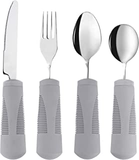 Adaptive Utensils (4-Piece Kitchen Set) Wide, Weighted, Non-Slip Handles for Hand Tremors, Arthritis, Parkinson's or Elderly use - Stainless Steel Knife, Fork, Spoons (Gray Weighted Bendable)