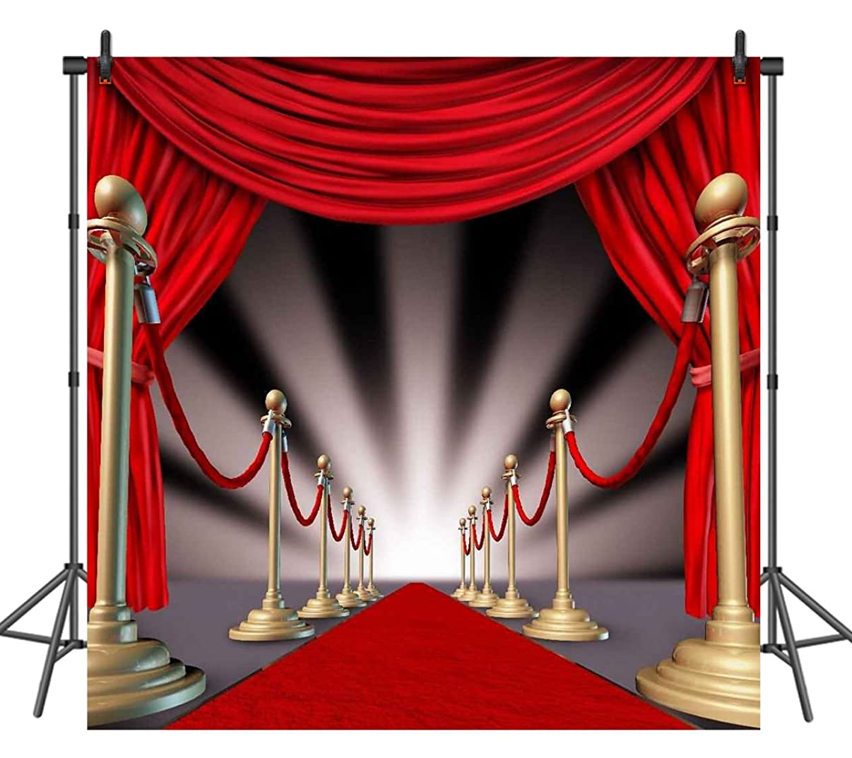 Sensfun 8x8ft Red Carpet Photography Backdrops Curtain Lighting Prom Backdrop Background Photography Props