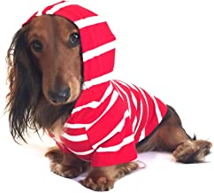 DJANGO Dog Hoodie and Super Soft and Stretchy Sweater with Elastic Waistband and Leash Portal Medium Red