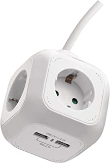 EMOS Cube/Enchufe/Cubo de alimentación/Bloque de Enchufe/Enchufe múltiple en Forma de Cubo con 4 enchufes y 2 Puertos USB ...