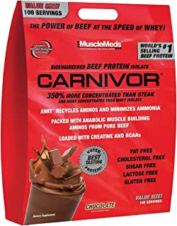 Musclemeds Carnivor Beef Protein Isolate Powder Chocolate, 8 Lbs.