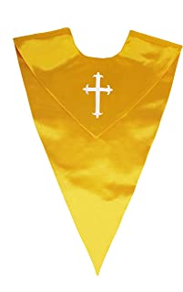 Unisex V Shape Solid-Colored Choir Stole with Cross
