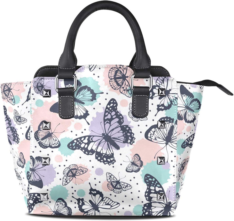 My Little Nest Women's Top Handle Satchel Handbag Abstract Butterflies Ladies PU Leather Shoulder Bag Crossbody Bag