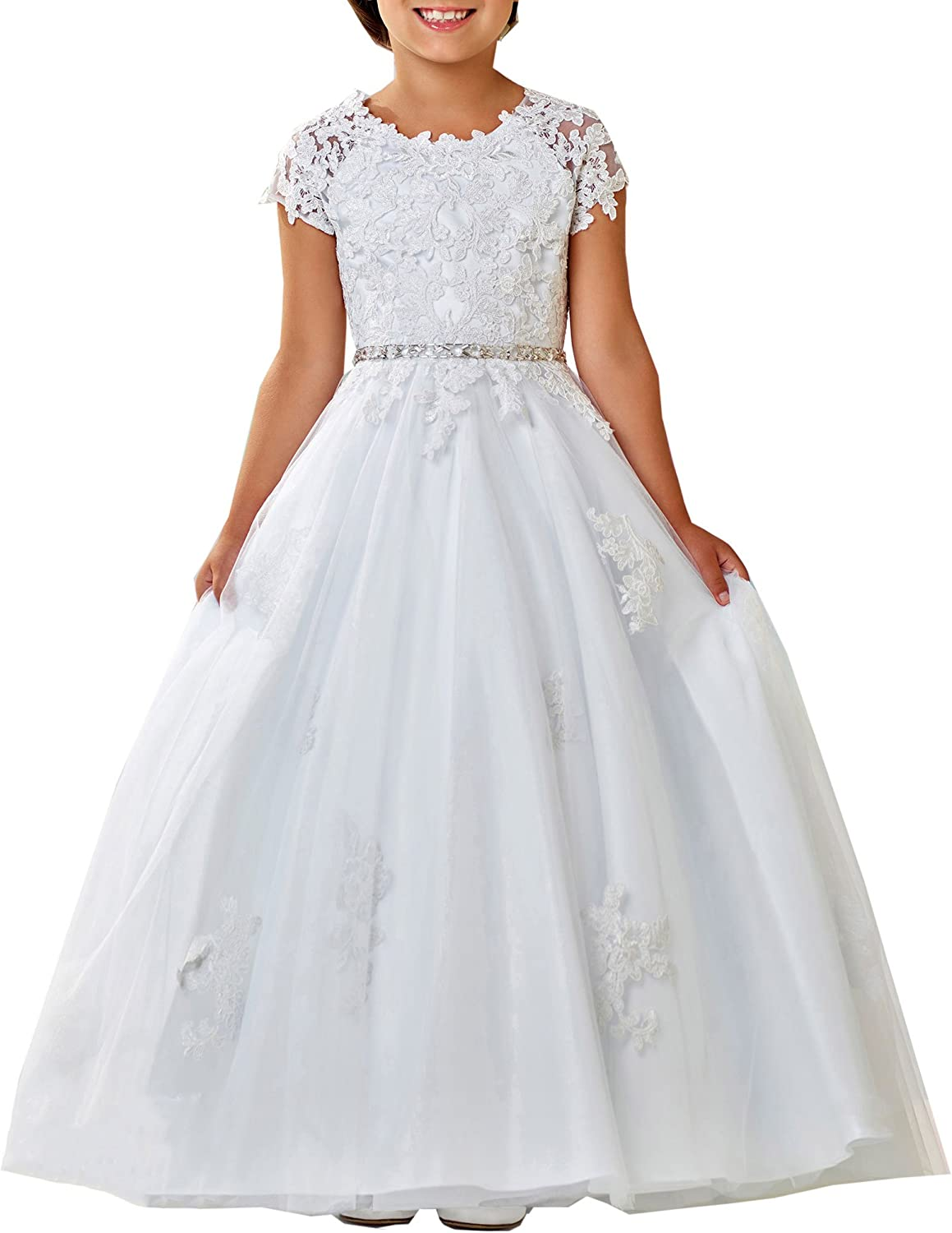 Cap Sleeve Lace First Holy Communion Dresses for Girls Formal Prom Ball  Gown for Juniors