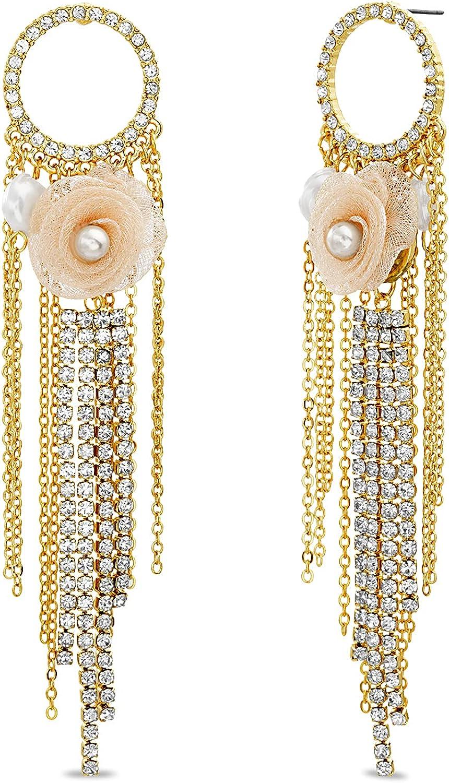 Badgley Mischka Yellow Chain Rhinestone Fringe Simulated Pearl Flower Circle Drop Dangle Earrings for Women