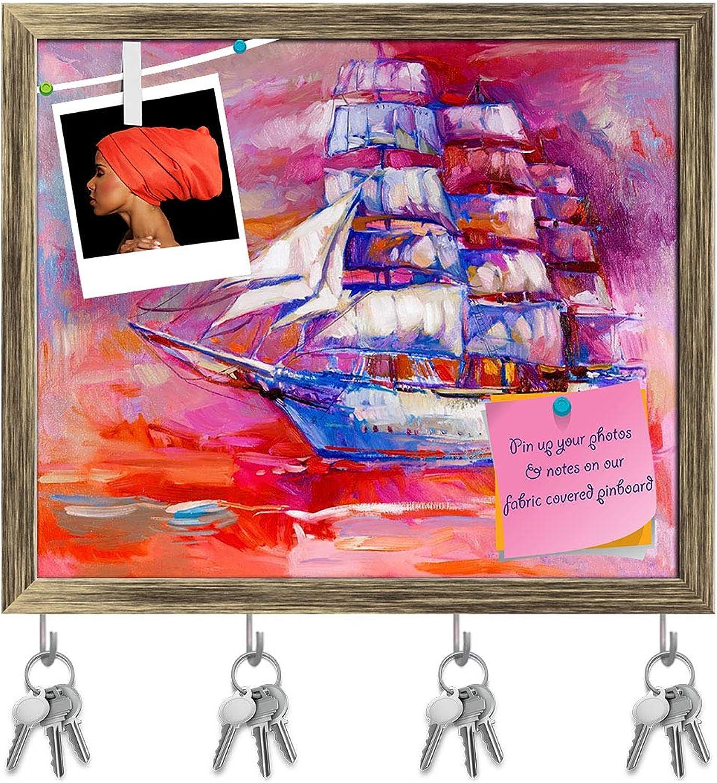 Artzfolio Artwork of Sail Ship & Sea D6 Key Holder Hooks   Notice Pin Board   Antique golden Frame 18.8 X 16Inch