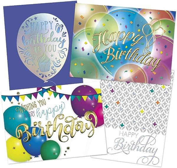 50 张高级生日贺卡 4 张高档设计 52 张金箔和银箔内衬信封 FSC 混合