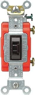 Leviton 1221-2L 20-Amp, 120/277-Volt, Toggle Locking Single-Pole AC Quiet Switch, Extra Heavy Duty Spec Grade, Brown