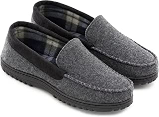 1d5b9fc49 Men s Wool Micro Suede Moccasin Slippers House Shoes Indoor Outdoor