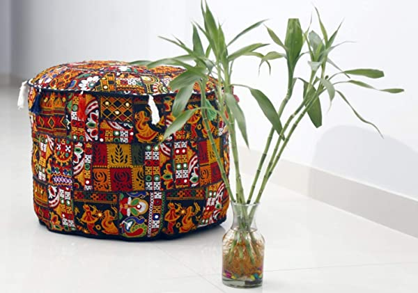 Trade Star Embroidered Ottoman Cushion Handmade Foot Stool Applique Patchwork Pouffe Cover Decorative Vintage Pouf Cover Bohemian Floor Cushion For Home Decor Pattern 4 18 X 18 X 14 Inches