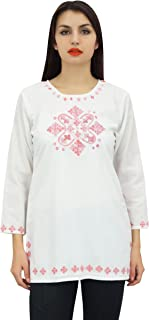 Phagun Women's Full Sleeve Embroidered Cotton Tunic Shirts Ethnic Top