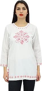 Phagun Women's Full Sleeve Embroidered Cotton Tunic Shirts Ethnic Top