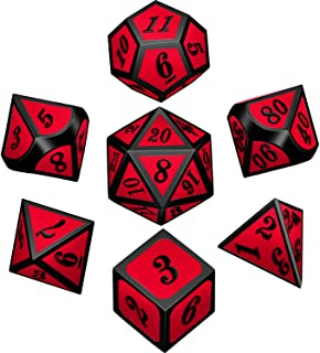 Bememo Polyhedral Metal Dices Set Zinc Alloy with Enamel Solid Metal for DND Game, Tabletop RPG, Dungeons and Dragons, Math Teaching, 7 Pieces Dice Set with Black Velvet Bag (Black Nickel Red)