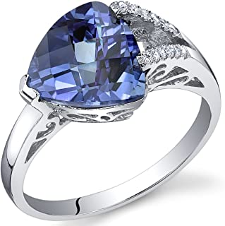 Simulated Alexandrite Ring Sterling Silver Trillion Checkerboard Cut 3.50 Carats Sizes 5 to 9