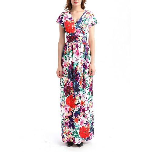 77e29c7d74 Misschicy Women Tropical Temptress Print Maxi Dress Wrap V Neck Casual  Holiday Summer Beach Maxi Dress