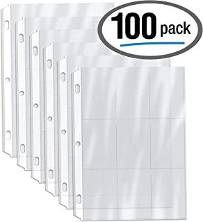100/Box Clear Heavyweight Trading Card Sleeve Pages, 9 Pockets Per Sheet, Double Sided, 900 Pockets, 3 Ring Binder Sheets, by Gold Seal, 100 Count