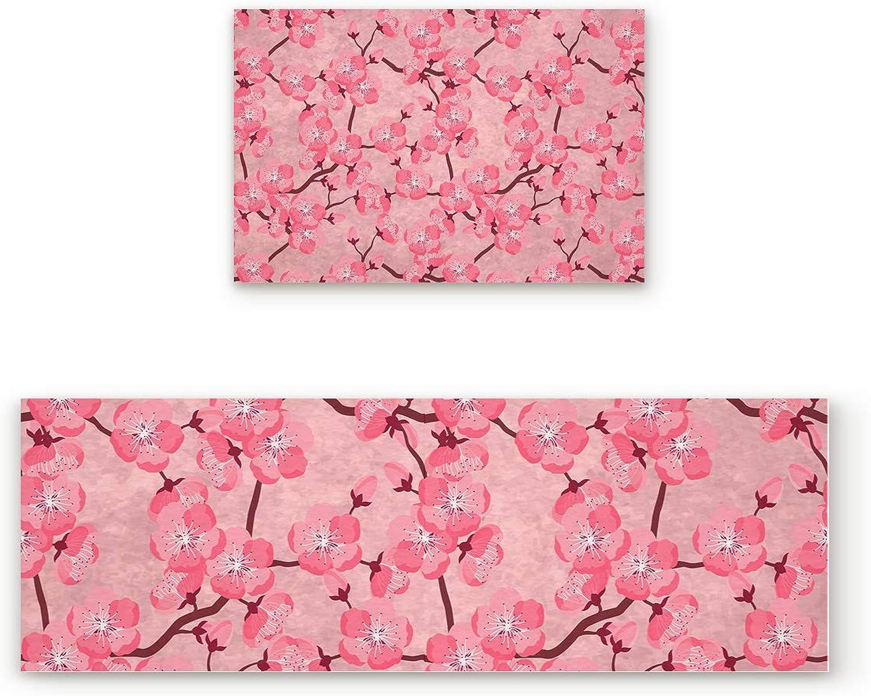 Libaoge Non-Skid Slip Rubber Backing Kitchen Mat Runner Area Rug Doormat Set, Japanese National Flower Cherry Blossoms Carpet Indoor Floor Mats Door 2 Packs, 19.7 x31.5 +19.7 x47.2