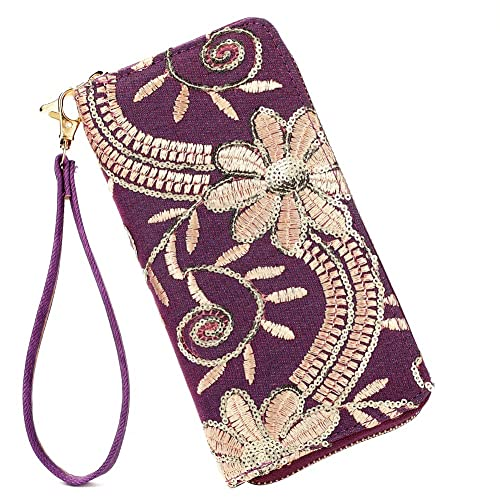 0387533a47 Laimi Duo Womens New Design Bohemian Floral Sequin Wallet Canvas Card  Holder Phone Purse Wristlet
