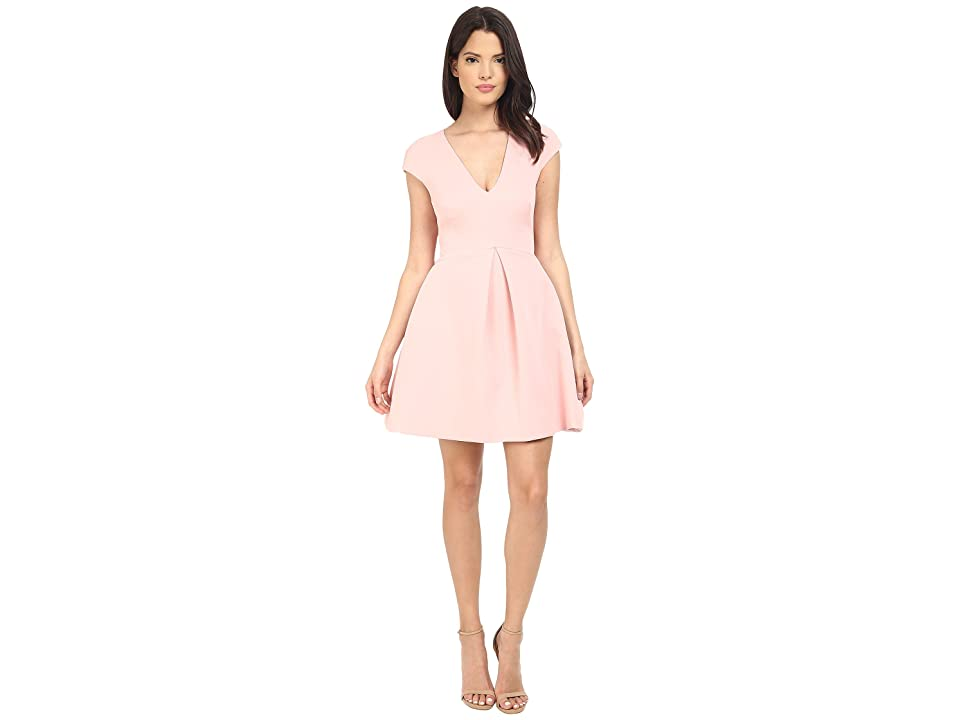 Halston Heritage Cap Sleeve V-Neck Structure Dress w/ Cut Out Back (Lotus) Women