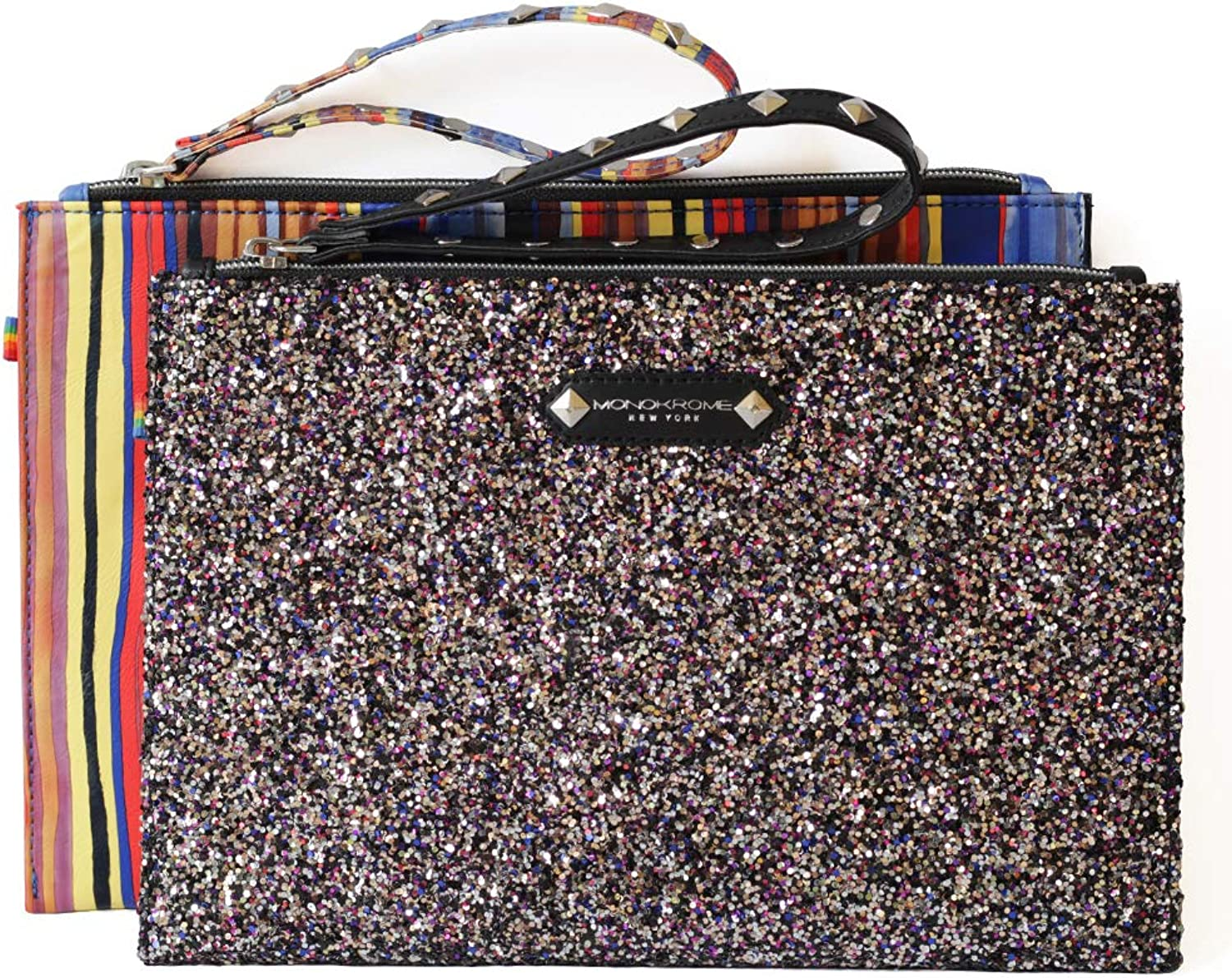 Floral embroidered flat geometric designer pouch purse wristlet clutch for ladies