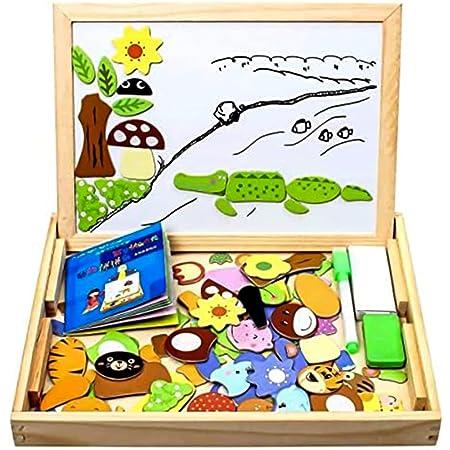 StillCool Puzzles de Madera Magnético 100 Piezas, Dibujo de Animal Colorido con Placa,Rompecabezas Pizarra con Caja para Niños Desde 3 Años,Juguete Educativo para Regalo