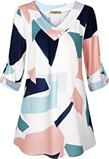 Miusey Womens Roll-Up Long Sleeve Top Casual V Neck Layered Chiffon Blouses