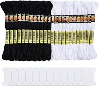 Pllieay 24 Skeins Cross Stitch Threads, Black and White Halloween Cotton Embroidery Floss Friendship Bracelets Floss with 12 Pieces Floss Bobbins for Knitting, Cross Stitch Project