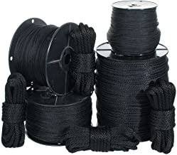 Golberg Solid Braid Black Nylon Rope - (1/4 Inch x 50 Foot Hank)