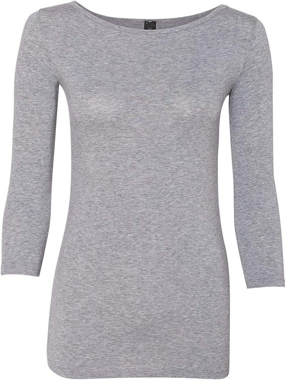 Anvil Womens Stretch 3//4 Sleeve T-Shirt 2455L