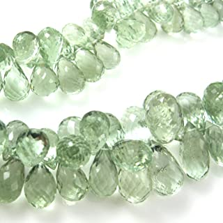Semi Precious Gemstone Beads - Teardrop Shape -Grade AA/A Faceted Green Amethyst Gemstone Briolettes - Loose Beads ( 1 pc) (16.5mm)
