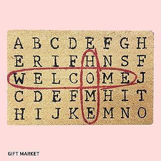 GIFTMarket | Felpudo Sopa de Letras 60x40 cm Divertido y Original para la Puerta de Entrada de Casa, Hecho con Coco y PVC Antideslizante. Rectangular.