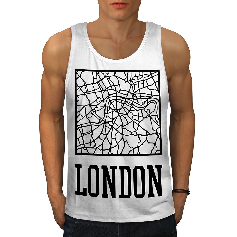 Wellcoda ロンドン シティ 地図 ファッション 男性用 S-2XL タンクトップ