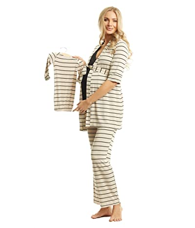 Everly Grey Analise Maternity/Nursing Mommy Me Five-Piece PJ Set (Sand Stripe) Women