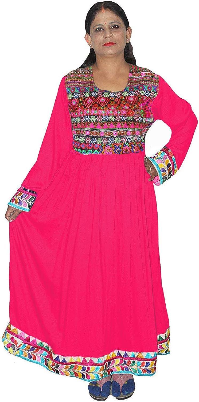 Lakkar haveli Women's Long Dress Tunic Pink Color Embroidered Kurti Indian Girl's Fashion Frock Suit Plus Size (Medium)