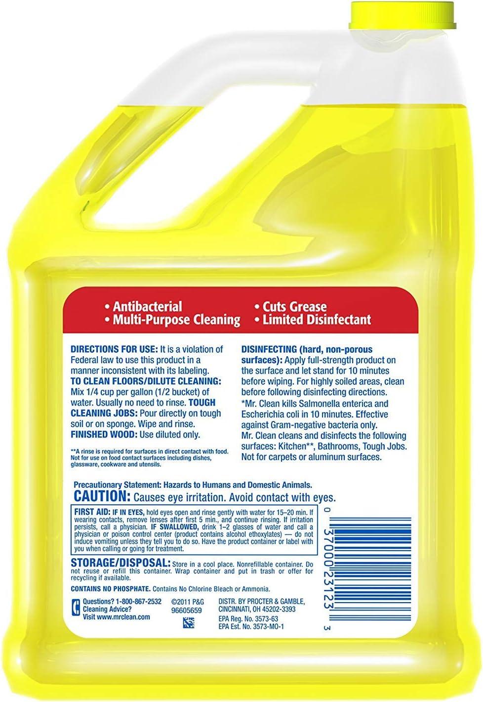 Mr. Clean Summer Citrus Liquid Multi Purpose Cleaner, 176 Fl.Oz / 5.2 L: Health & Personal Care