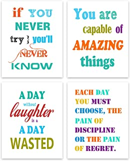 Inspirational Poster Motivational Wall Art - Colorful Creative Positive Quotes and Sayings Print Canvas Painting Inspirati...
