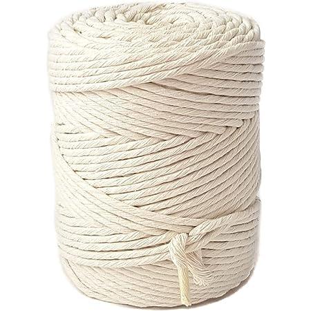 MB Cordas Corde Macramé 4mm 180m, 1kg Cordon en Coton Naturel - Simple Brin Torsadé Ficelle de Macramé, Crochet, Tricot - Sac à Main, Panier, Attrapes-rêves - Blanc Écru Ivoire