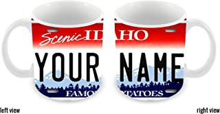BleuReign(TM) Personalized Custom Name Idaho License Plate 11oz Ceramic Coffee Mug